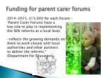 funding for parent carer forums