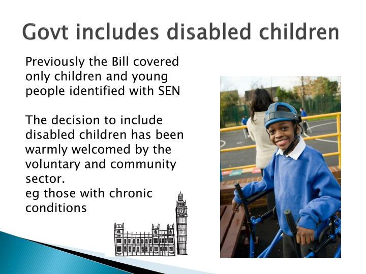 Govt includes disabled children