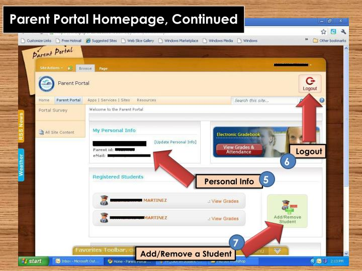 Parent Portal Homepage, Continued