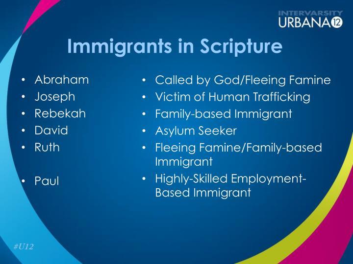 Immigrants in Scripture