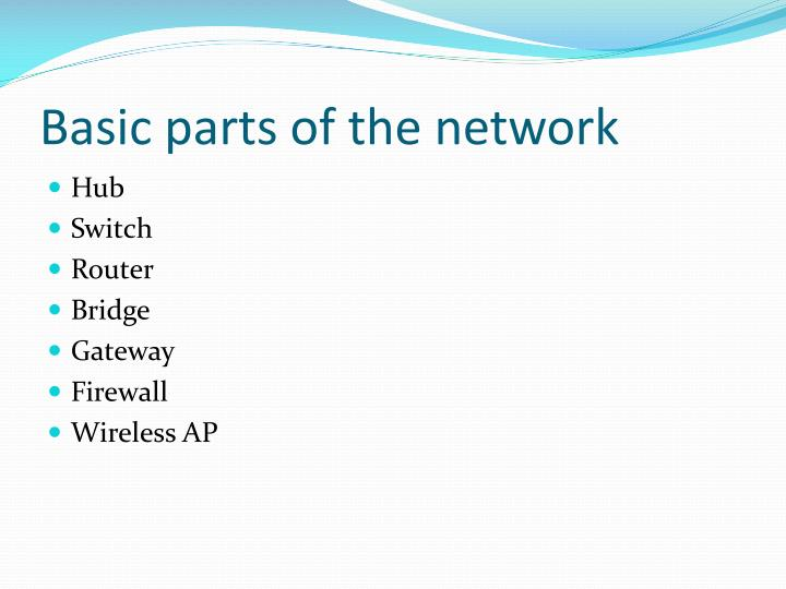 Basic parts of the network