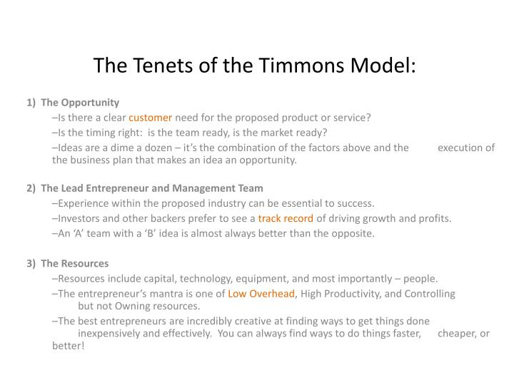 The Tenets of the Timmons Model: