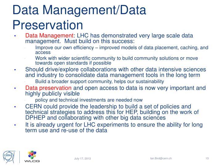 Data Management/Data Preservation
