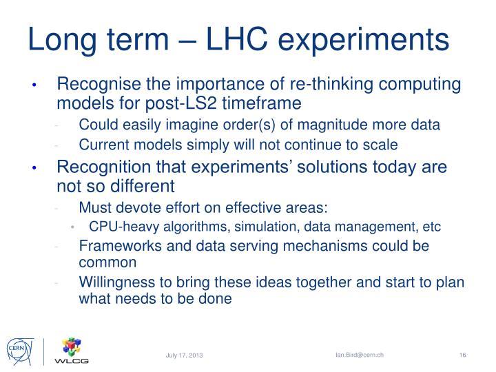 Long term – LHC experiments