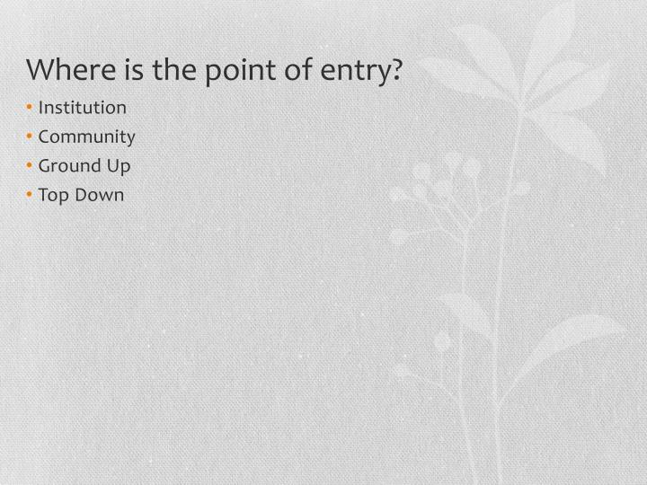 Where is the point of entry?