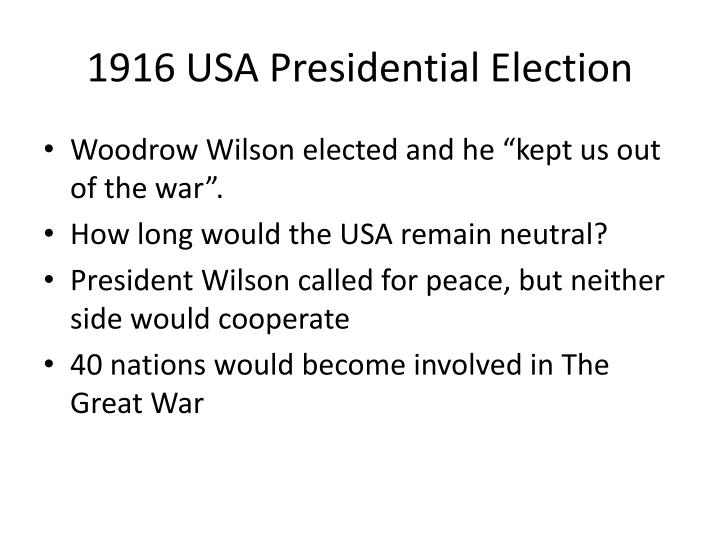 1916 USA Presidential Election