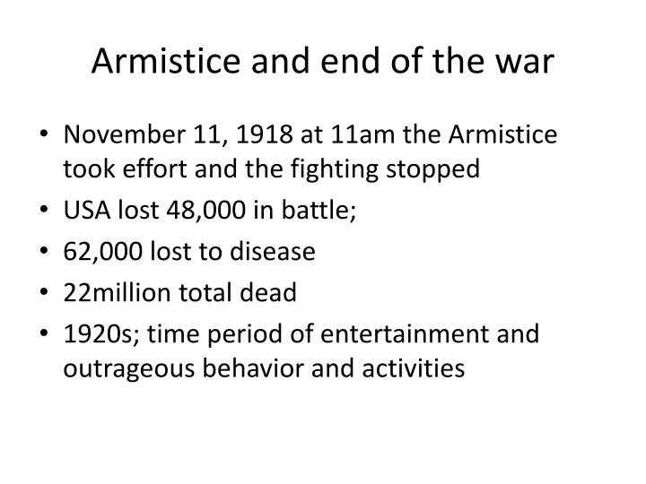Armistice and end of the war