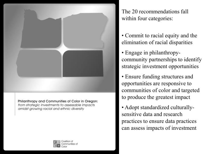 The 20 recommendations fall within four categories: