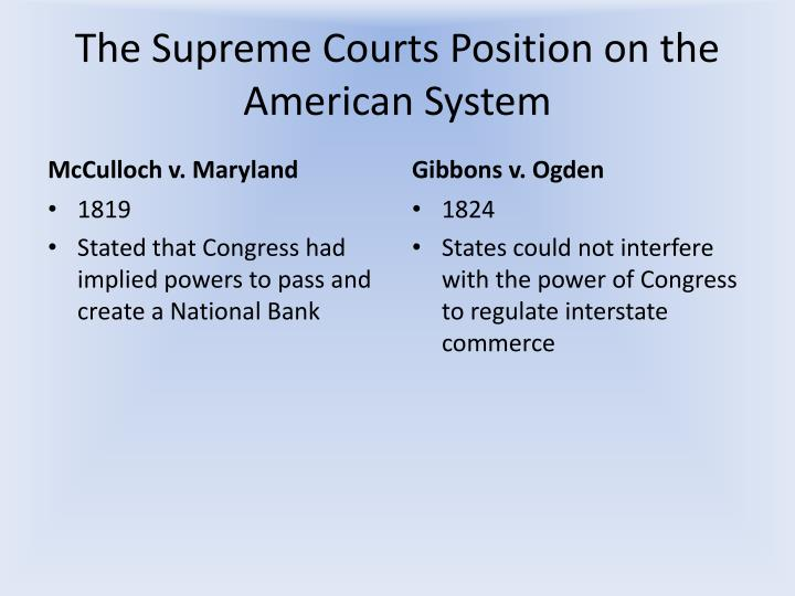 The Supreme Courts Position on the American System