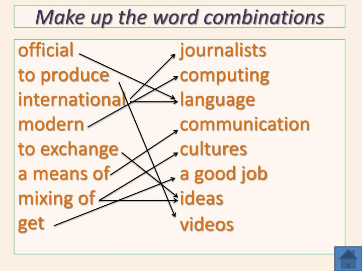 Make up the word combinations
