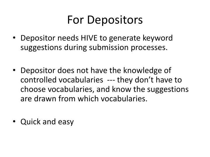 For Depositors
