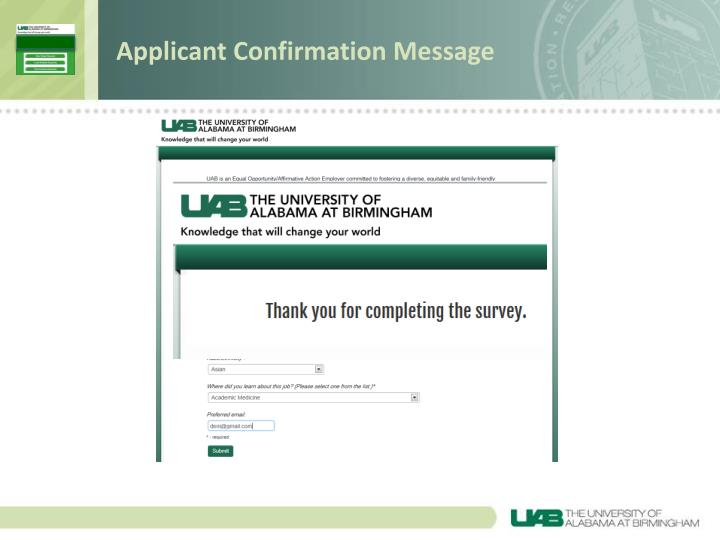 Applicant Confirmation Message