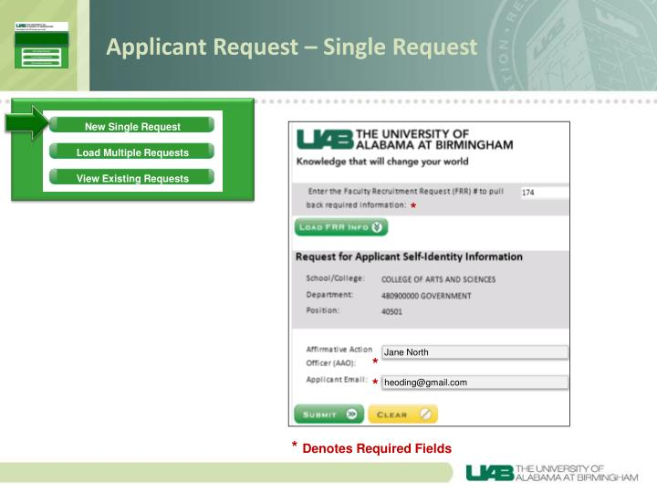 Applicant Request – Single Request