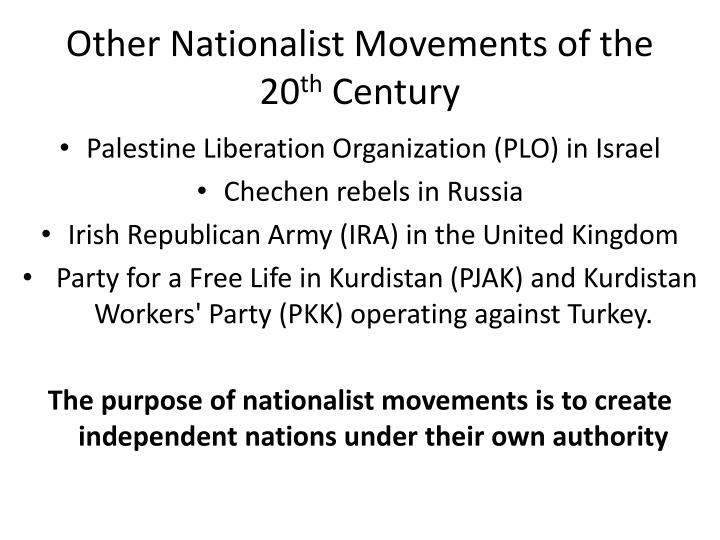 Other Nationalist Movements of the 20