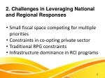 2 challenges in leveraging national and regional responses
