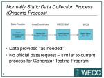 normally static data collection process ongoing process