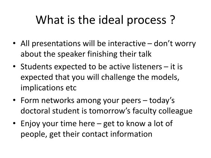 What is the ideal process ?