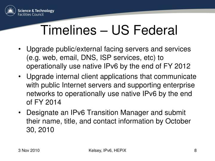 Timelines – US Federal