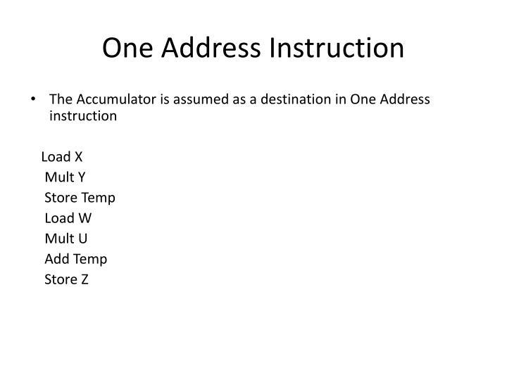 One Address Instruction