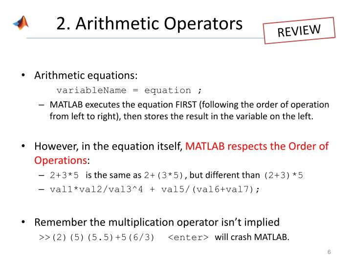 2. Arithmetic Operators