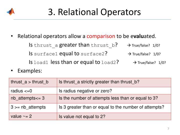 3. Relational Operators