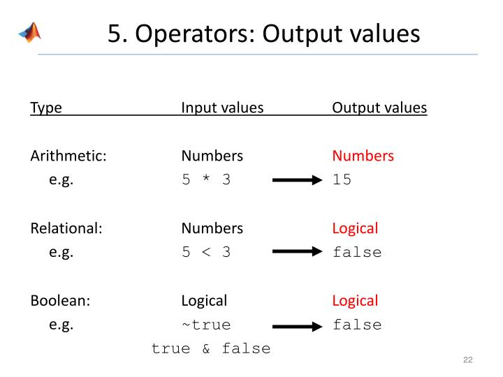 5. Operators: Output values
