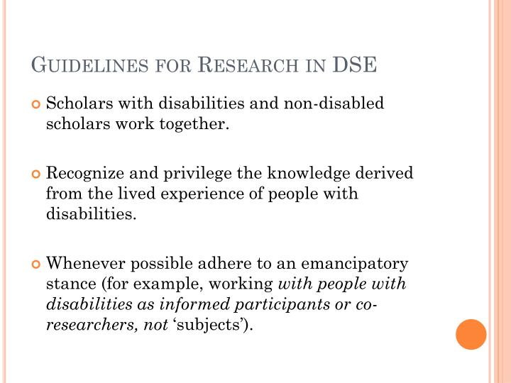 Guidelines for Research in DSE