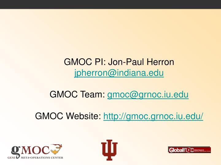 GMOC PI: Jon-Paul Herron