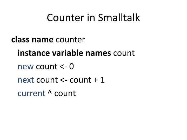 Counter in Smalltalk