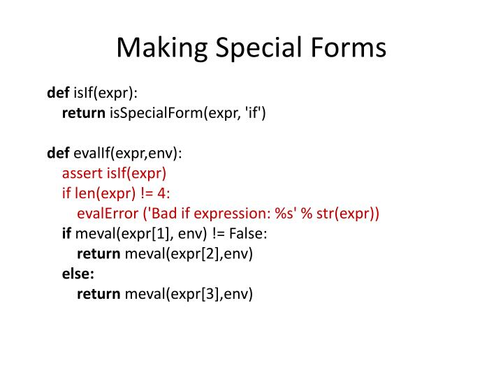 Making Special Forms