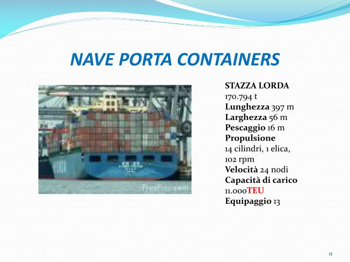 NAVE PORTA CONTAINERS