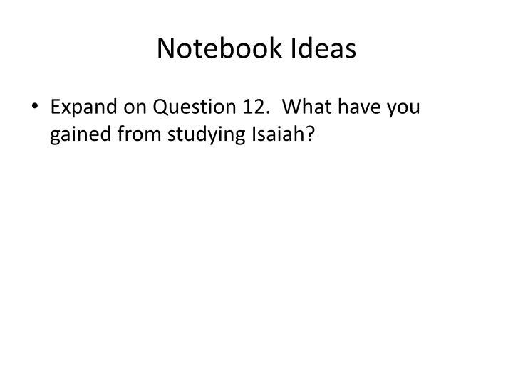 Notebook Ideas