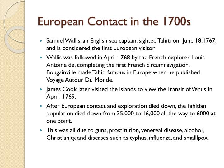 European Contact in the 1700s