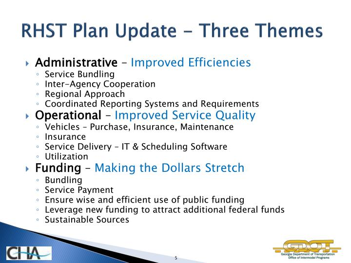 RHST Plan Update - Three Themes