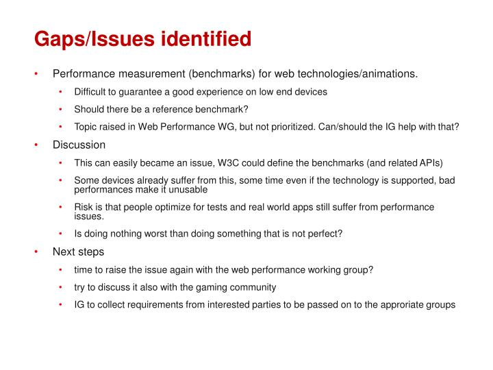 Gaps/Issues identified