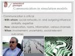 communication in simulation models