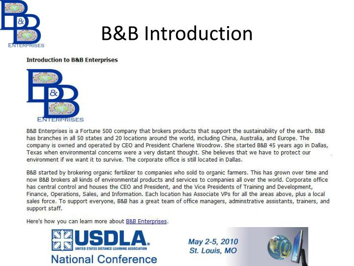 B&B Introduction
