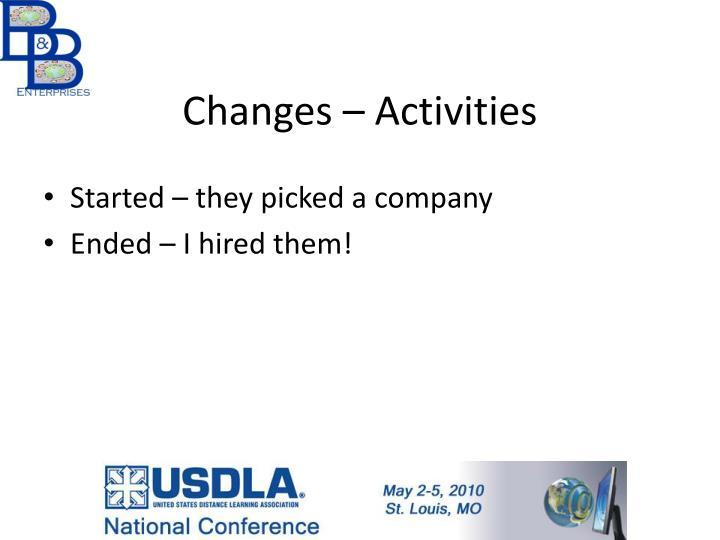 Changes – Activities