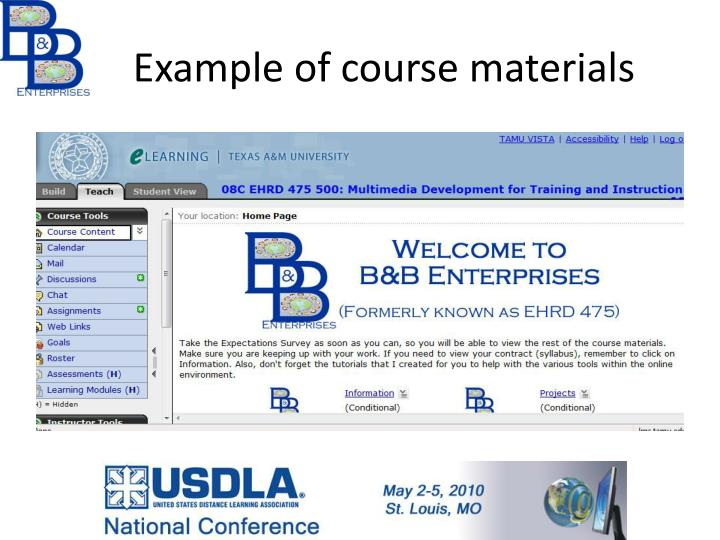 Example of course materials