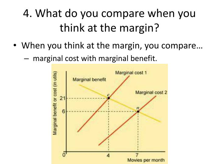 4. What do you compare when you think at the margin?
