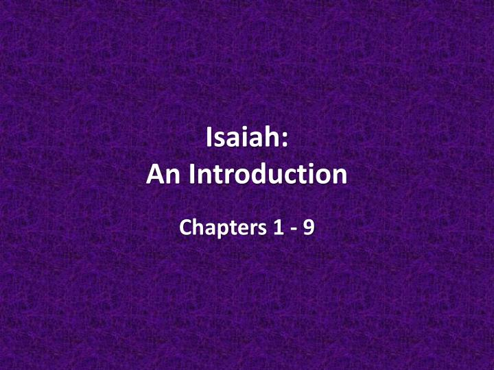 isaiah an introduction