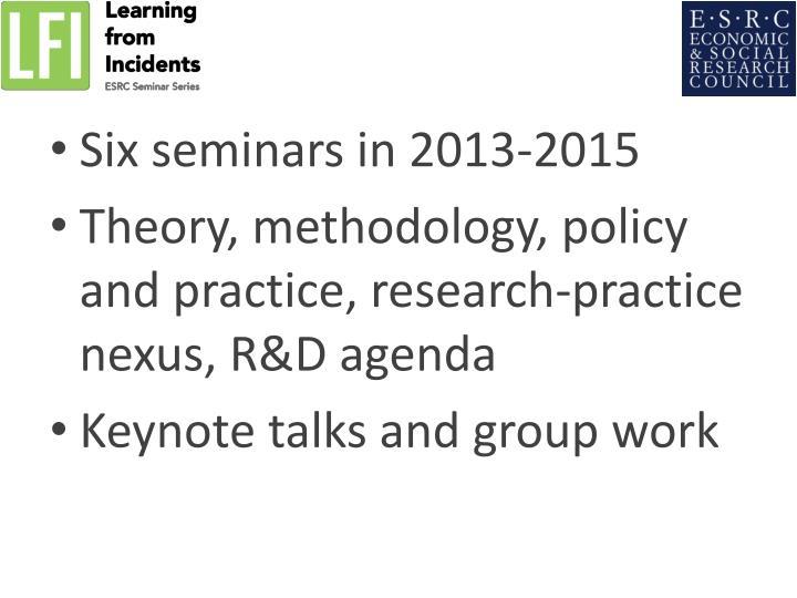 Six seminars in 2013-2015