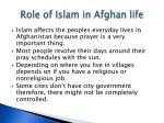 role of islam in afghan life