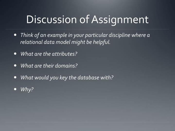 Discussion of assignment