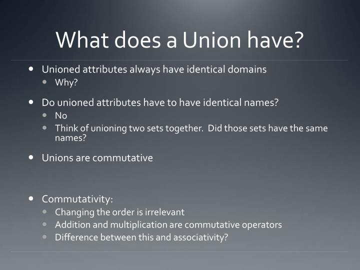 What does a Union have?