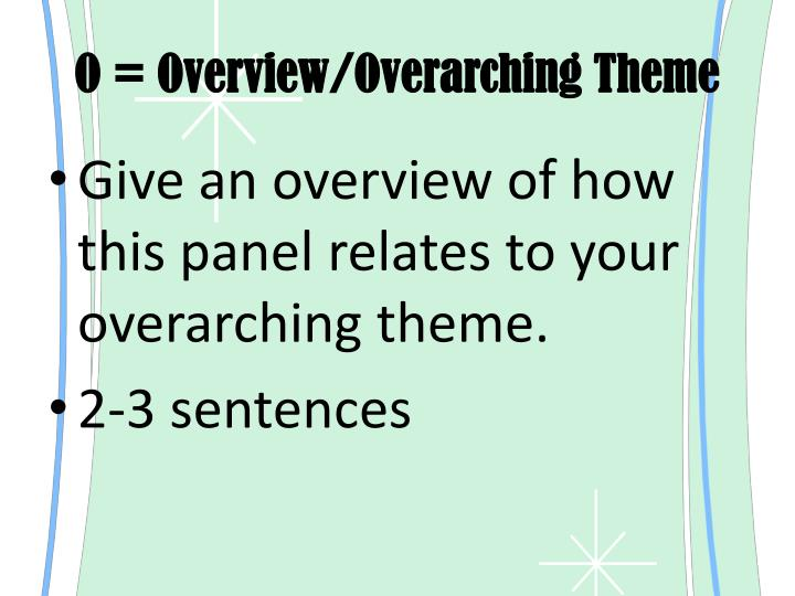 O = Overview/Overarching Theme
