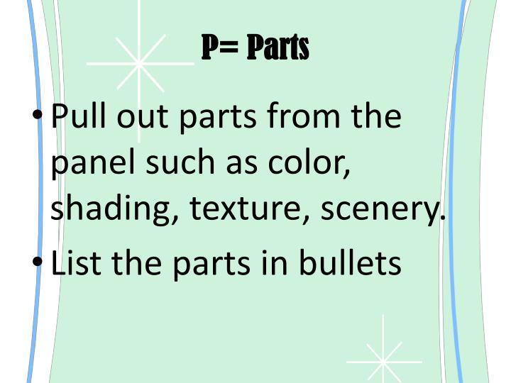P= Parts