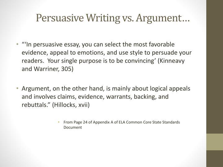 Persuasive Writing vs. Argument…