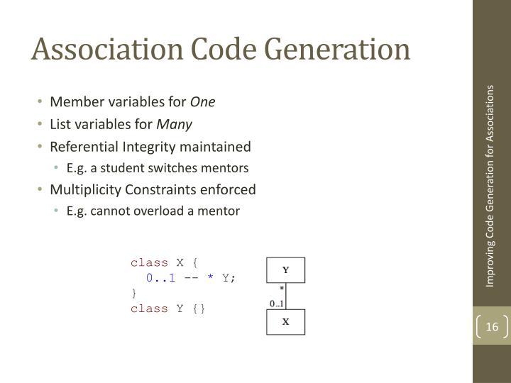 Association Code Generation