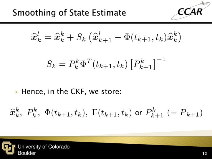 Smoothing of State Estimate